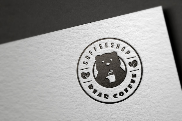 Realistic bear logo mockup on white paper