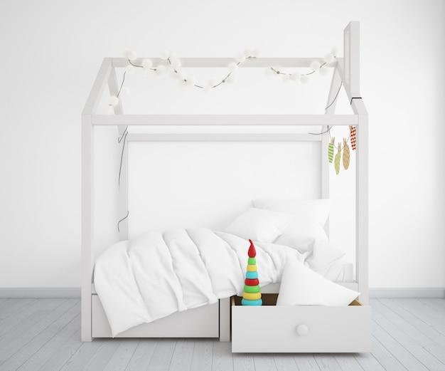 Реалистичная спальня с кроватью в форме дома