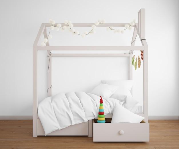 Camera da letto realistica con un letto a forma di casa