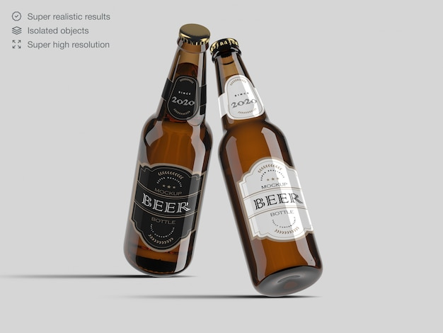 Realistic beer bottle label mockup template