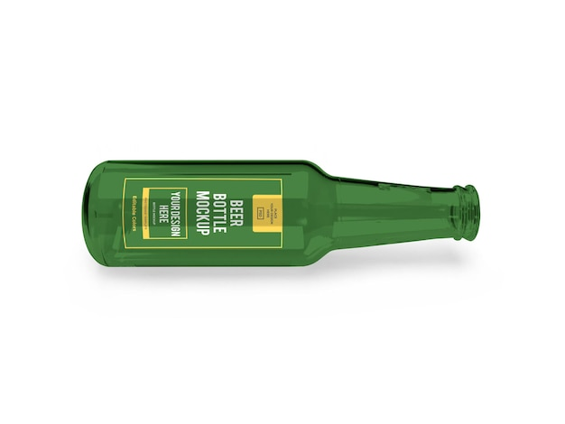 分離された現実的なビール瓶のモックアップテンプレート
