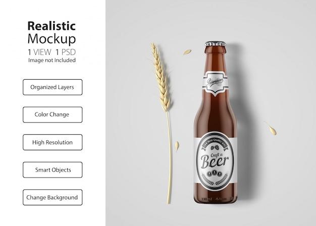 Realistic beer bottle packaging mockup