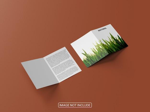 リアルな二つ折りパンフレット紙モックアップ