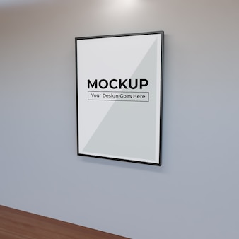 Realistic big frame for photo art mockup