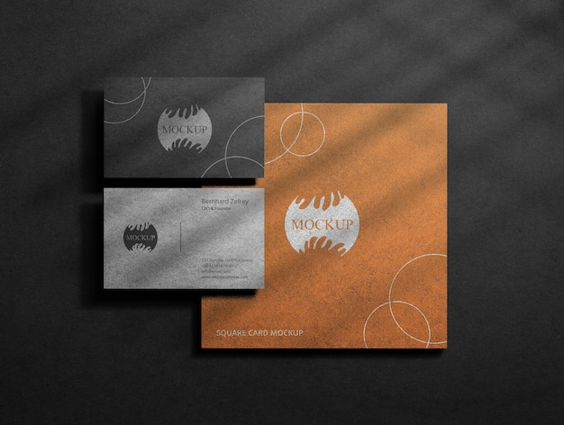 Realistic black business card mockup with square card