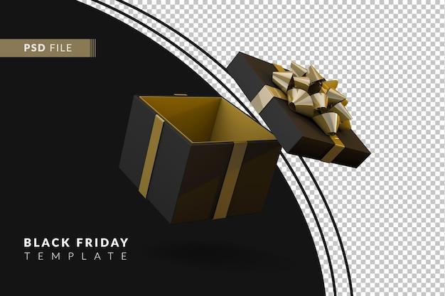 金色のリボンが付いたリアルな黒のギフトボックスブラックフライデーのコンセプト3dレンダリング