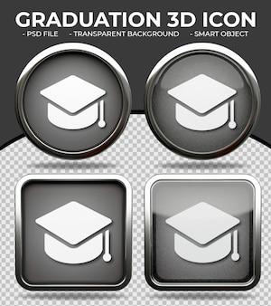 현실적인 검은 유리 버튼 빛나는 원형과 사각형 3d 졸업 아이콘