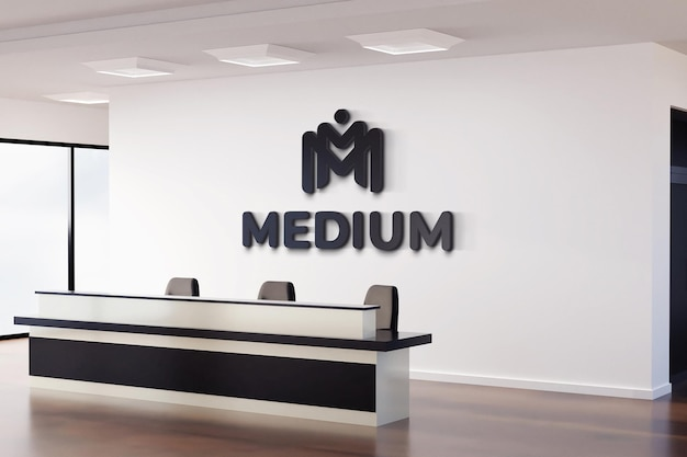 Realistic black logo mockup sign office white wall
