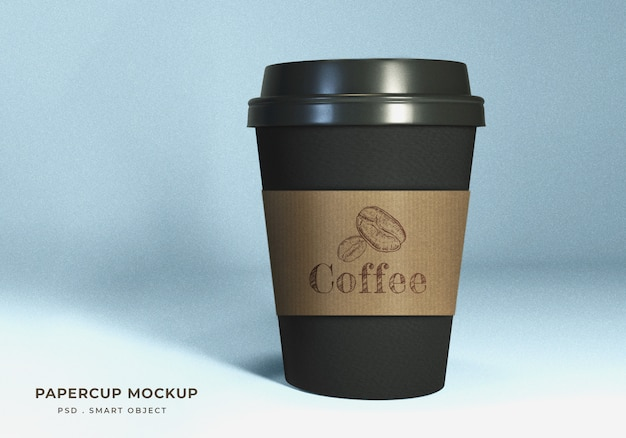 Realistic black paper coffee cup mockup