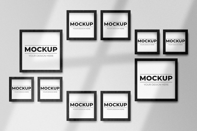 Realistic black square photo frame mockup on wall with shadow