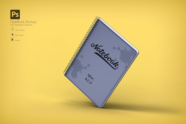 Realistic blank notebook mockup isolated