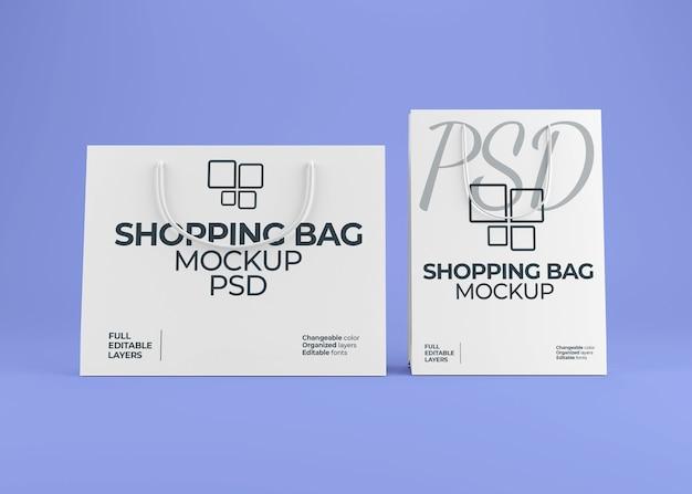 Realistic blank paper shopping bag mockup