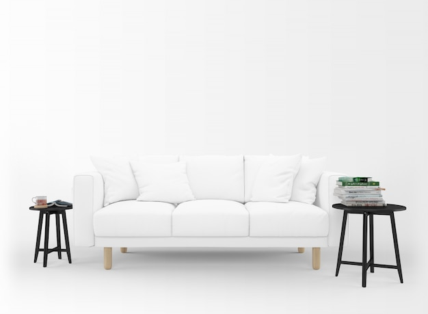 Realistic blank sofa with little tables isolated on white