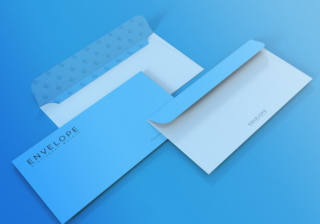 Realistic blue envelope mockup with light blue background