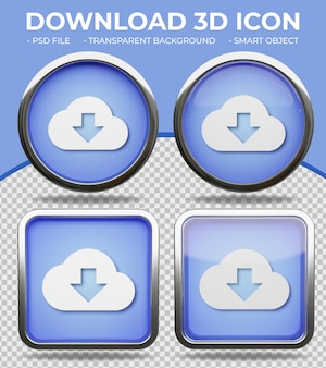 リアルな青いガラスボタン光沢のある円形と正方形の3dダウンロードアイコン
