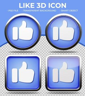 현실적인 파란색 유리 버튼 빛나는 원형 및 사각형 3d 좋아요 또는 엄지손가락 아이콘