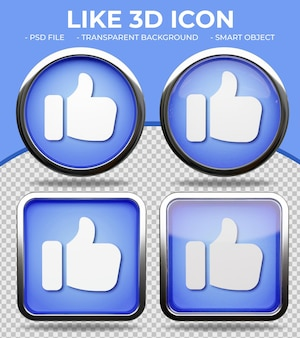 Realistic blue glass button shiny round and square 3d like or thumbs up icon