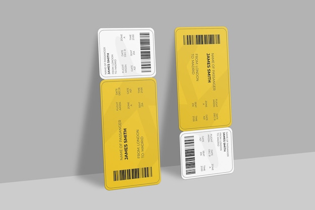 Realistic boarding pass or event ticket mockup design