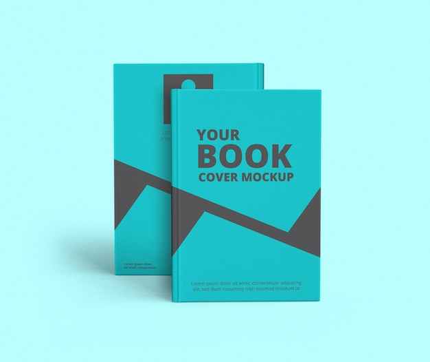 Realistic book cover and back mockup