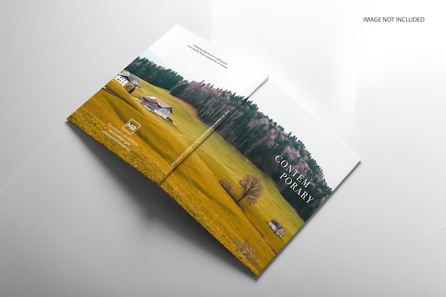 Realistic book front, back and spine views mockup