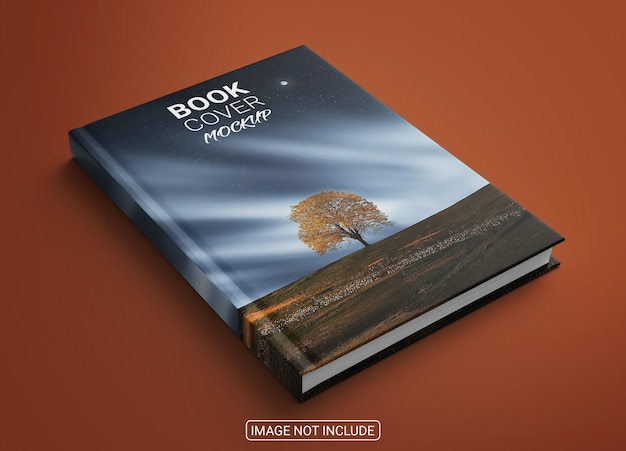 Realistic book hardcover mockup on light red background