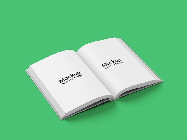 薄緑色の背景にリアルな本のハードカバーのモックアップ