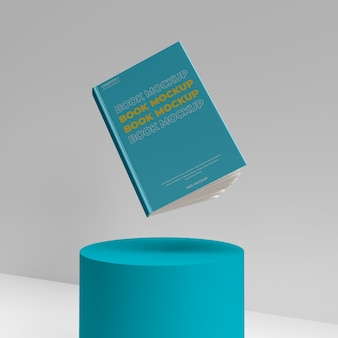 Realistic book mockup 3d render stage scene flying mockup