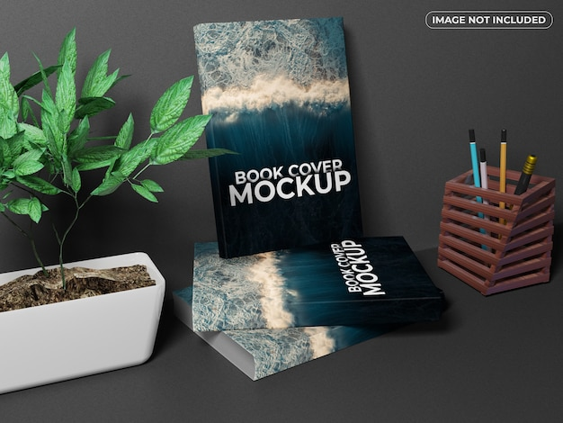 Realistic books front cover mockup