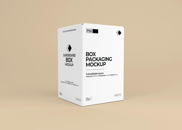 Realistic box mockup in 3d rendering isolated