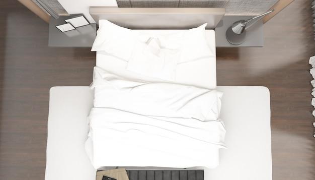 Реалистичная яркая современная спальня с двуспальной кроватью с мебелью на вид сверху