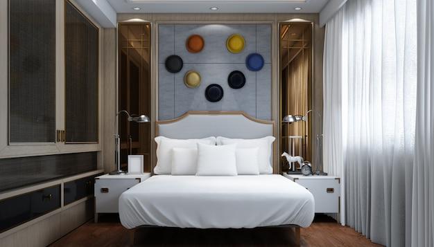 Camera matrimoniale moderna luminosa realistica con mobili