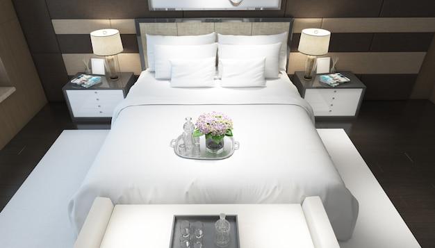 가구와 현실적인 밝은 현대 더블 침실