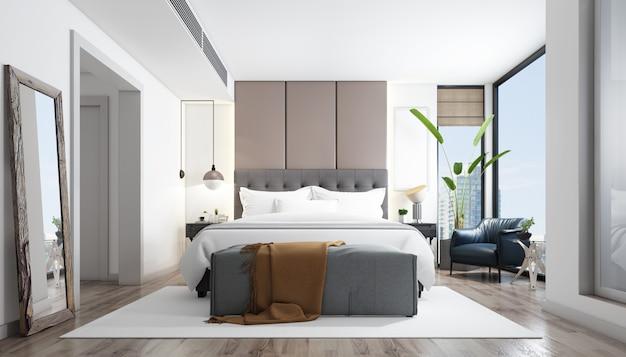 家具付きの現実的な明るいモダンなダブルベッドルーム