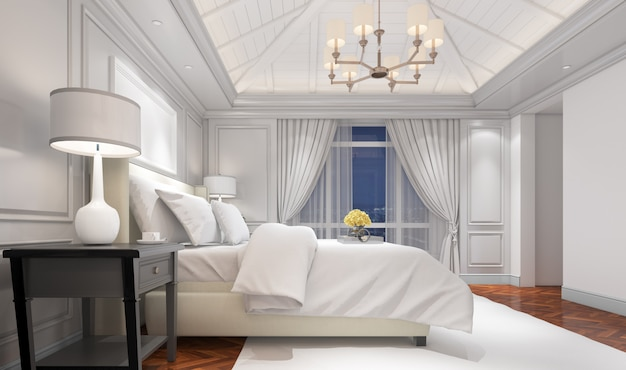 Realistic bright modern double bedroom with furniture