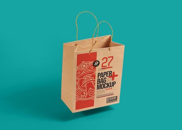 Realistic brown paper bag mockup