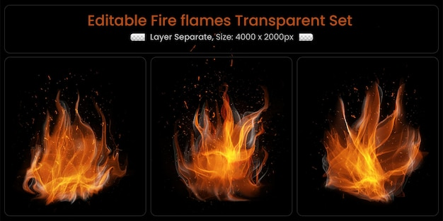 Realistic burning fire flames with shiny bright elements set