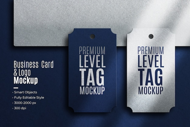 Realistic business card and level tag logo mockup