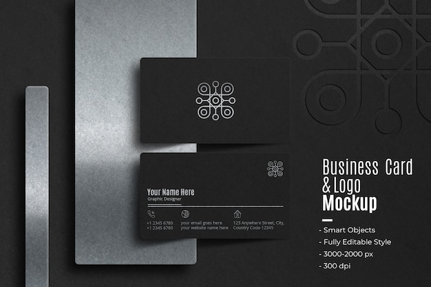 Realistic business card and logo mockup