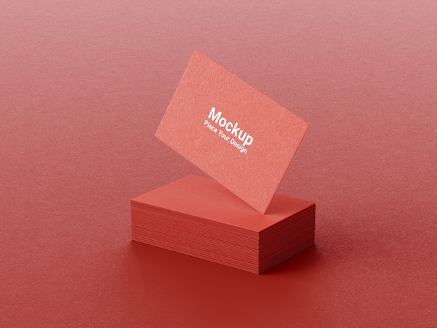 Realistic business card mockup on red background