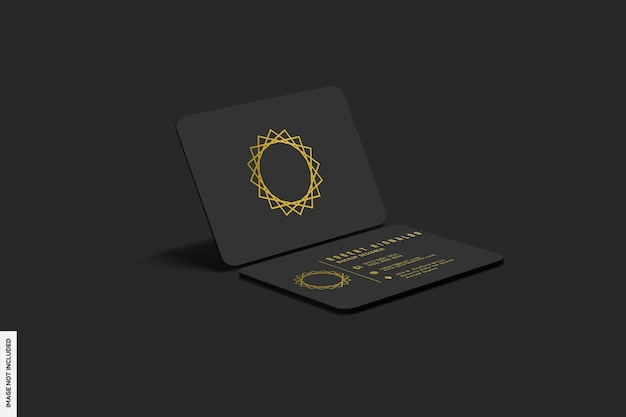 Realistic business card mockup with dark light