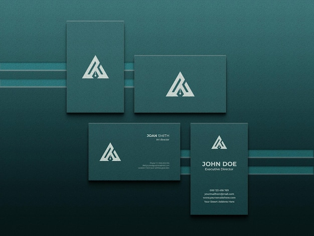 Realistic business cards mockup with letterpress effect