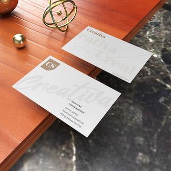 Realistic business name card mockup