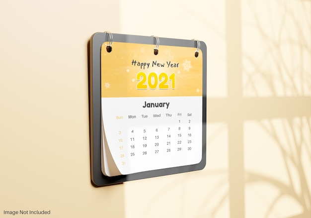 Realistic calendar note hanging on wall mockup