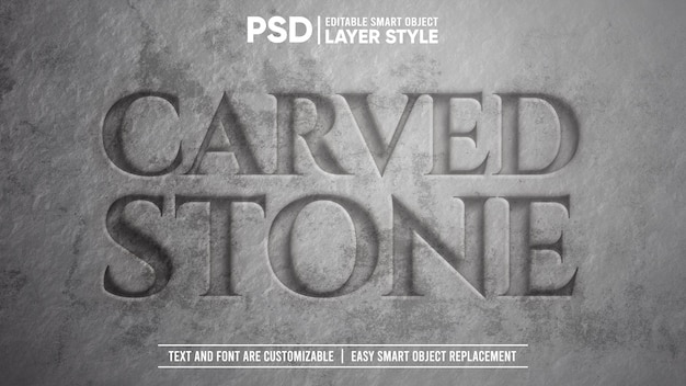 현실적인 조각된 돌 3d 편집 가능한 레이어 스타일 스마트 개체 텍스트 효과
