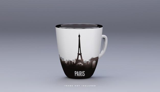 Реалистичная керамическая белая кофейная кружка макет