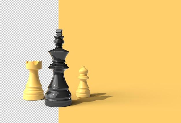 현실적인 체스 조각 투명 psd 파일.