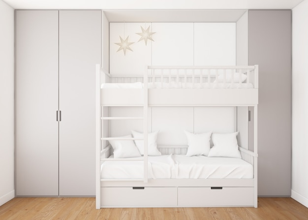 Realistic childish bedroom with bunk bed