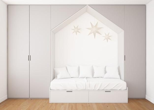 Реалистичная детская спальня с гардеробом и кроватью