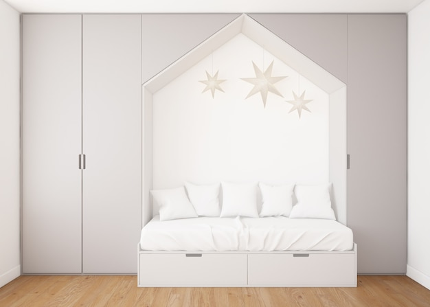 Realistic childish bedroom with wardrobe and a bed