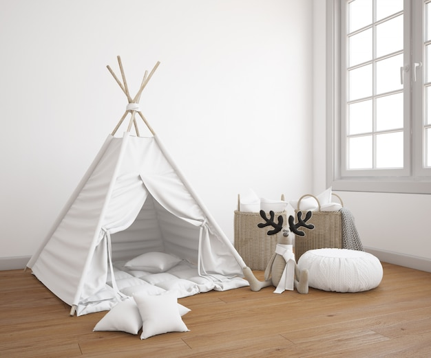 Realistic childish tent with toys in a bedroom
